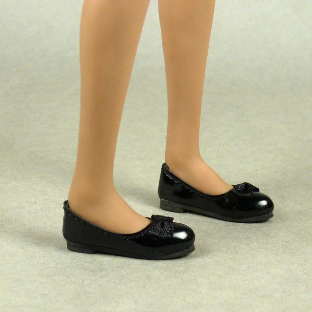Nouveau Toys 1/6 Scale Female Black Mary Jane Flat Shoes with Bow