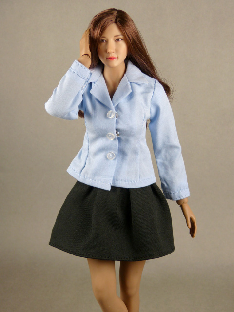 Nouveau Toys 1/6 Scale Lite Blue Sleeved Shirt with Black Pleated Skirt Set
