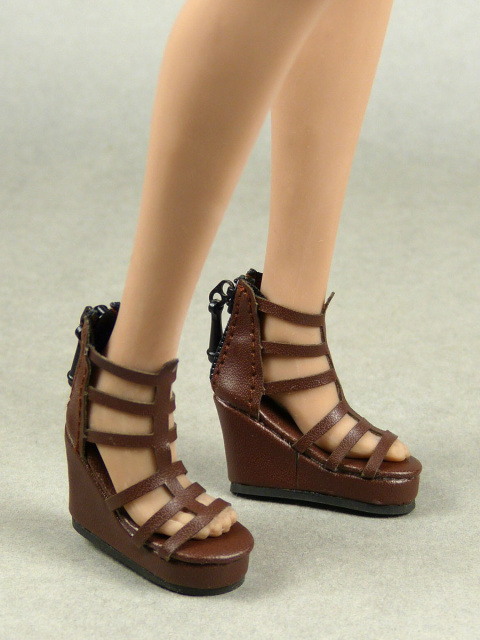 Nouveau Toys 1/6 Shoes Series - 1/6 Scale Female Dark Brown Gladiator Wedge Heel Shoes