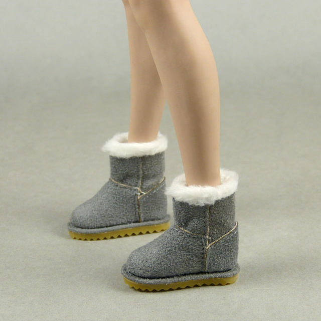 Nouveau Toys 1/6 Scale Female Gray Leather Skin Boots with Fur Trims