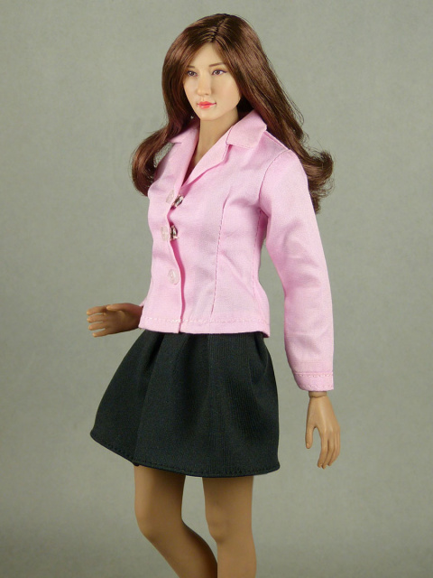 Nouveau Toys 1/6 Scale Lite Pink Sleeved Shirt with Black Pleated Skirt Set