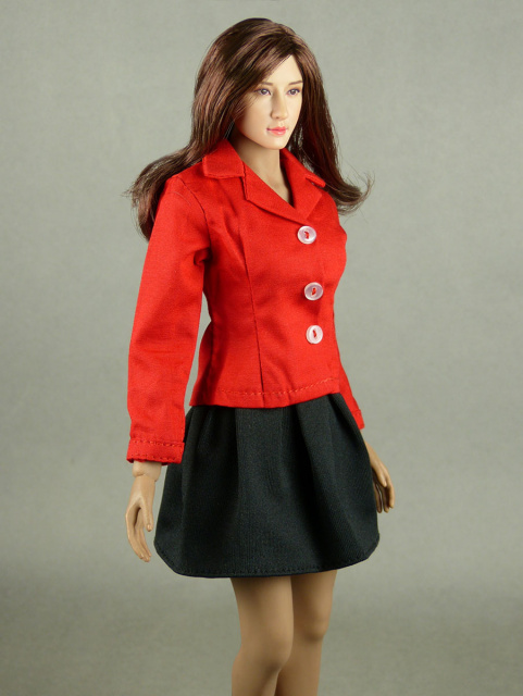 Nouveau Toys 1/6 Scale Red Sleeved Shirt with Black Pleated Skirt Set