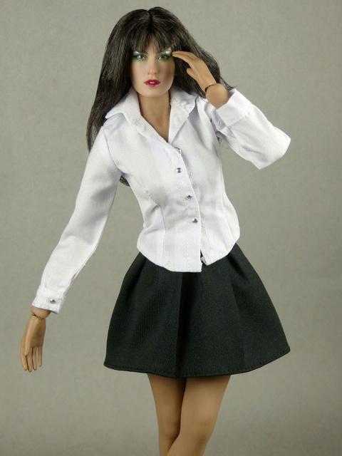 Nouveau Toys 1/6 Scale White Sleeved Shirt with Black Pleated Skirt Set