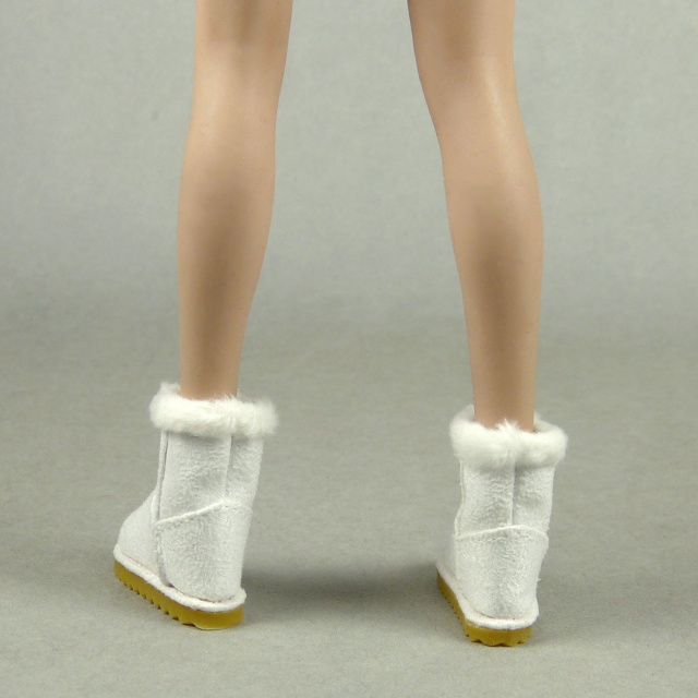 Nouveau Toys 1/6 Scale Female White Leather Skin Boots with Fur Trims