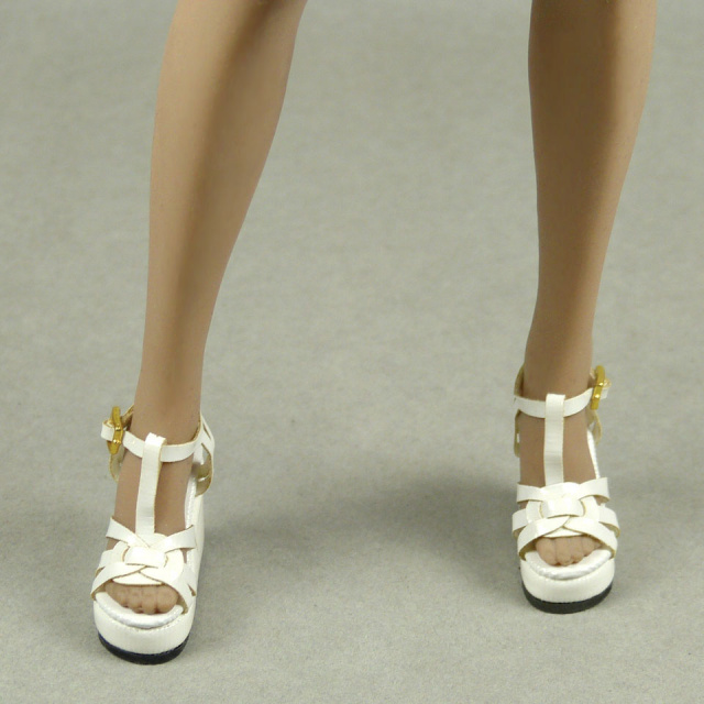 Nouveau Toys 1/6 Scale Female White Strap Wedge Heel Shoes