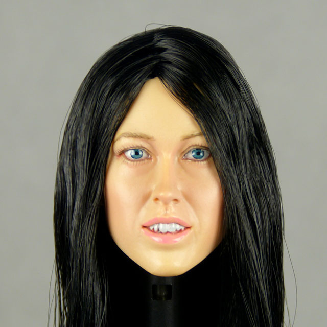 Nouveau Toys 1/6 Scale Female Head Sculpt Corina With Black Hairpiece - NT003BK