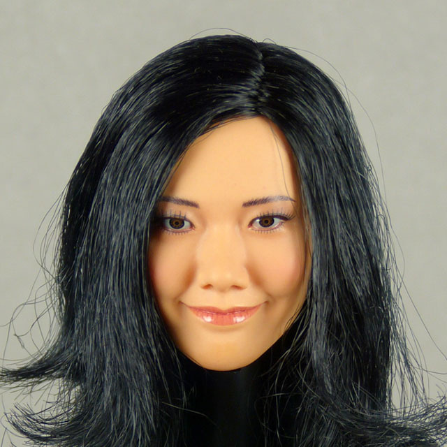 Phicen 1/6 Scale Female Asian Head Sculpt (Tan) With Rooted Black Hair