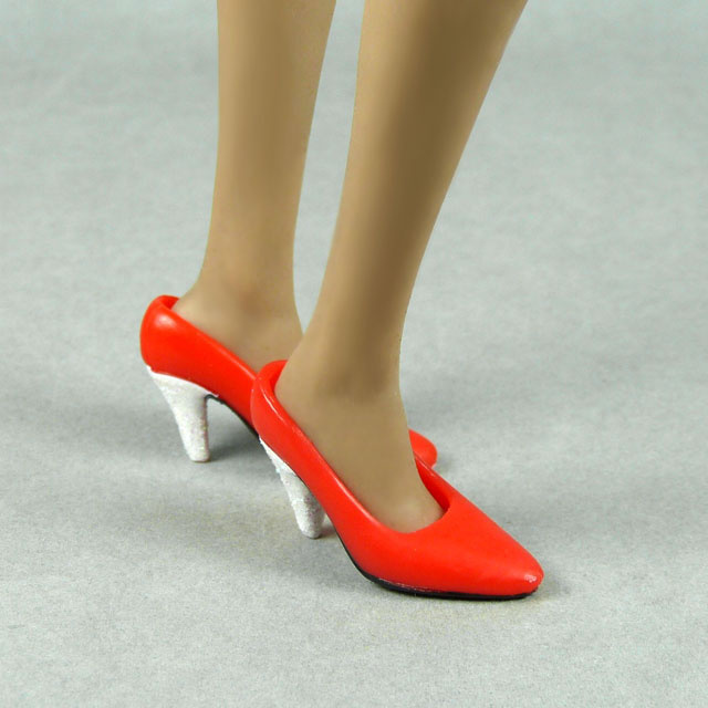 Toy City 1/6 Scale Female Red Glitter Heel Shoes