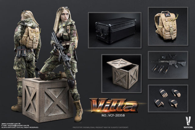 VeryCool 1/6 Scale Female Figure Green Python Stripe Camouflage Villa Sister Box Set