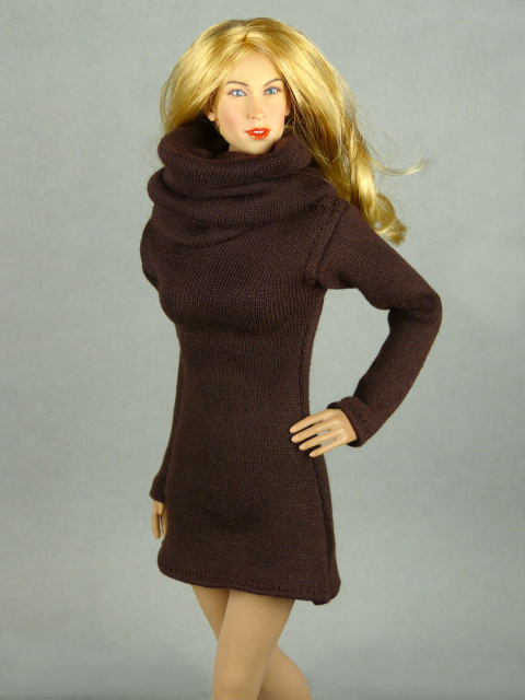 Vogue 1/6 Scale Female High Fashion Brown Turtle Neck Dress 2