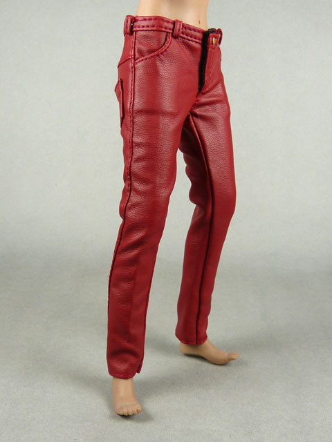 Vogue 1/6 Scale Female Burgundy Red Slim-Fit Leather Pants Image 2