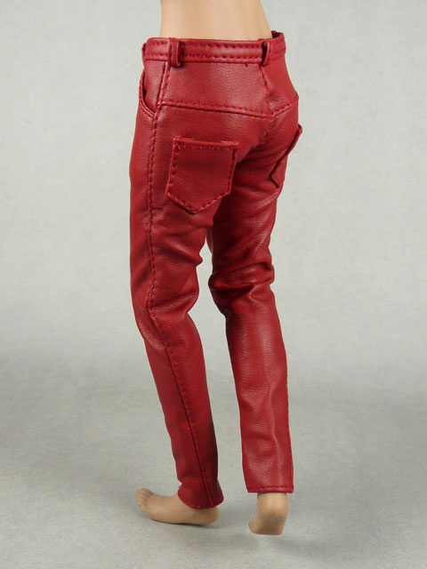 Vogue 1/6 Scale Female Burgundy Red Slim-Fit Leather Pants Image 3