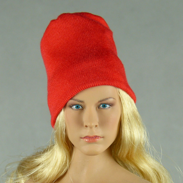Vogue 1/6 Scale Female Fashion Red Knit Beanie Hat Image 1