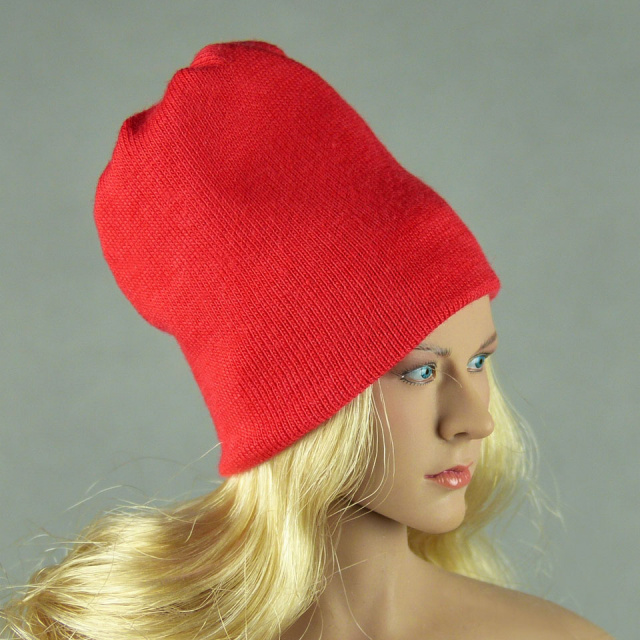 Vogue 1/6 Scale Female Fashion Red Knit Beanie Hat Image 2