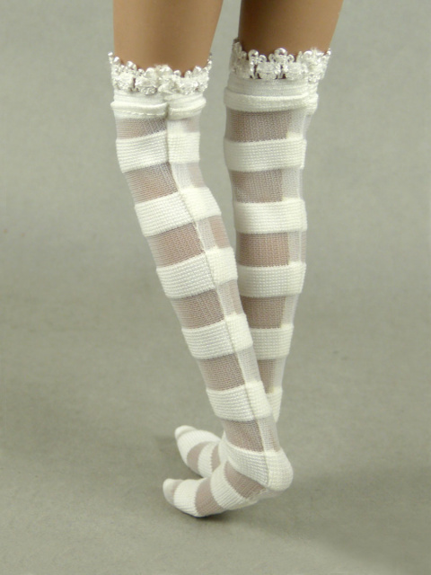 Vogue 1/6 Scale Female White Stripes Lace Top Fashion Stocking