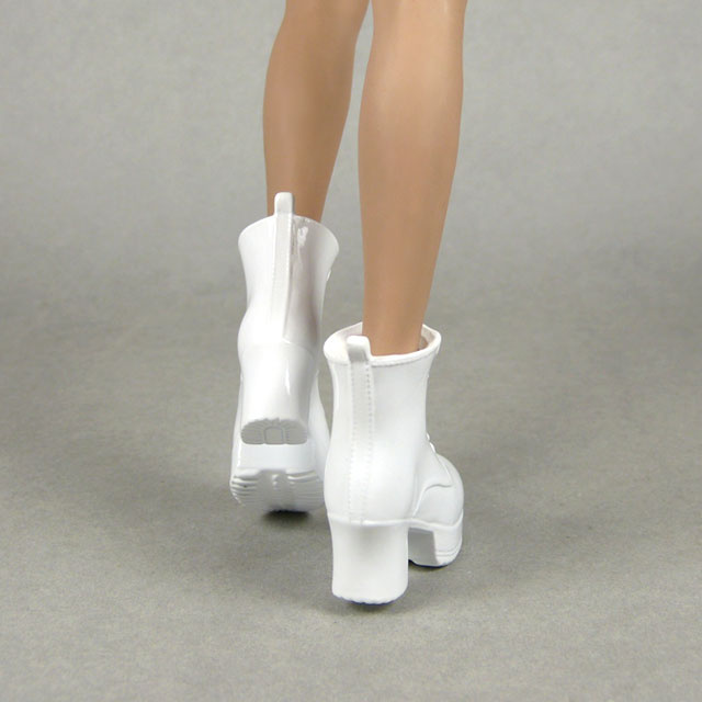 ZY Toys 1/6 Scale Female Glossy White Motorcycle Heel Boots
