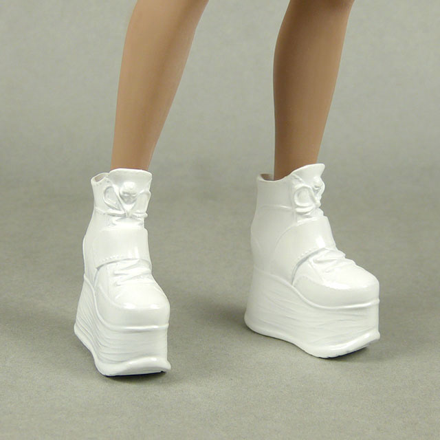 ZY Toys 1/6 Scale Female Glossy White High Platform Wedge Boots