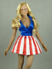 Flirty Girl 1/6 Scale Female USO Uniform Blue Top & Red/White Stripes Skirt Dancer Dress Set#1
