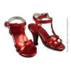 Nouveau Toys 1/6 Shoes Series - 1/6 Scale Female Red Metallic Strap High Heel Shoes
